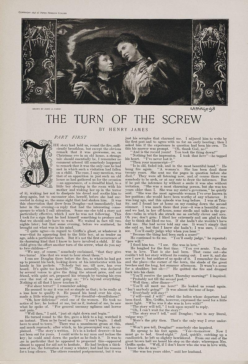 Primeira página original de A Volta do Parafuso