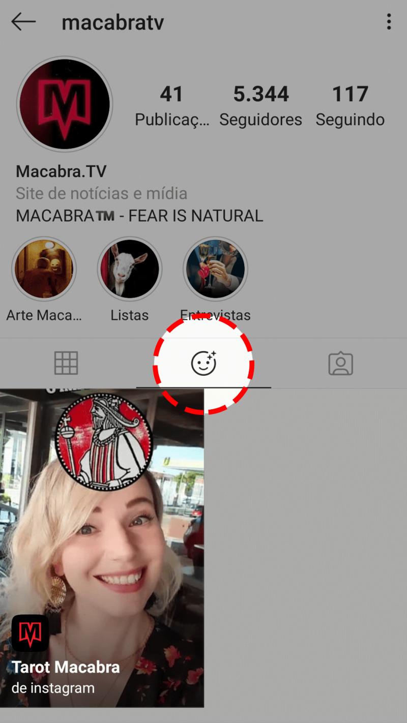 Filtro do Instagram para descobrir carta do Tarot Macabra