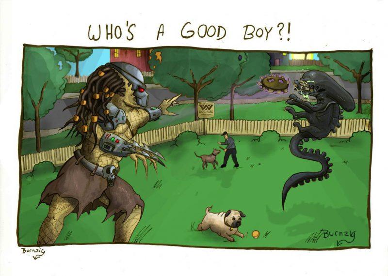 Alien e Predador brincam em um parque
