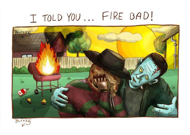 Frankensteins consola Freddy Krueger depois de um churrasco que deu errado