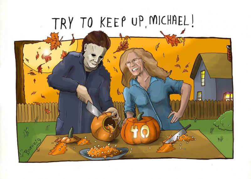Michael Myers aprende a cortar abóboras com Laurie Strode